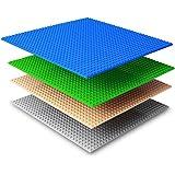 NextX 4 pezzi grande base di Costruzione Compatibile con Lego,Ispessimento Piastra base 25cm X 25cm con Tutte le Maggiori Marche - Verde+Blu+Grigio+Cachi
