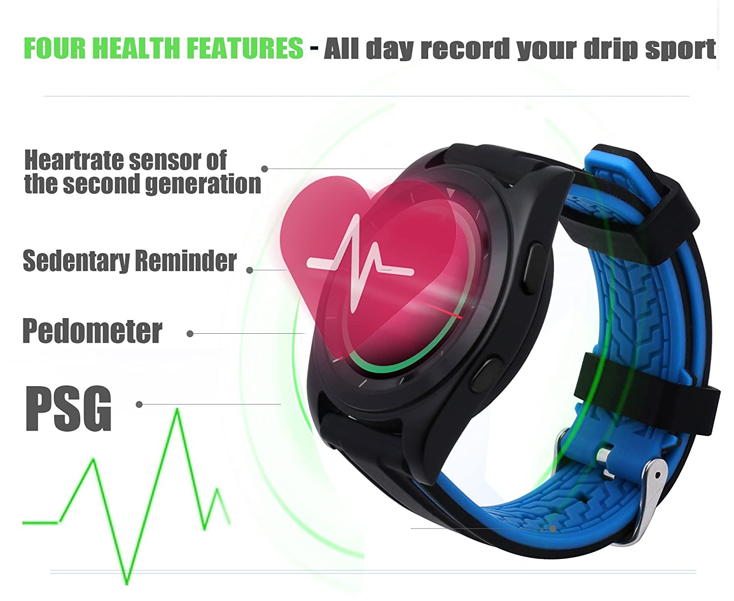 iSTYLE Fashion NO.1 G6 Smart Watch Bluetooth 4.0 Heart Rate Monitor Fitness Tracker Call SMS Reminder Remote Camera for Android iOS Smart Phones (G6 ...