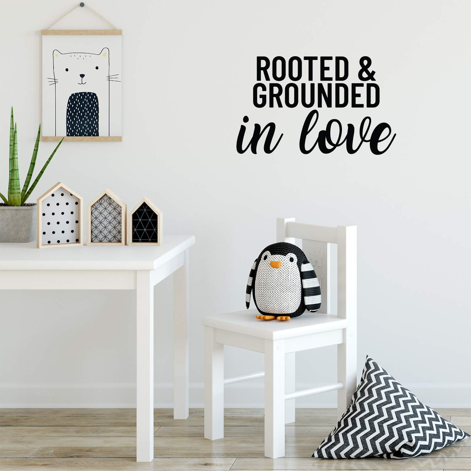 Vinyl Wall Art Decal - Rooted and Grounded in Love - 13.5