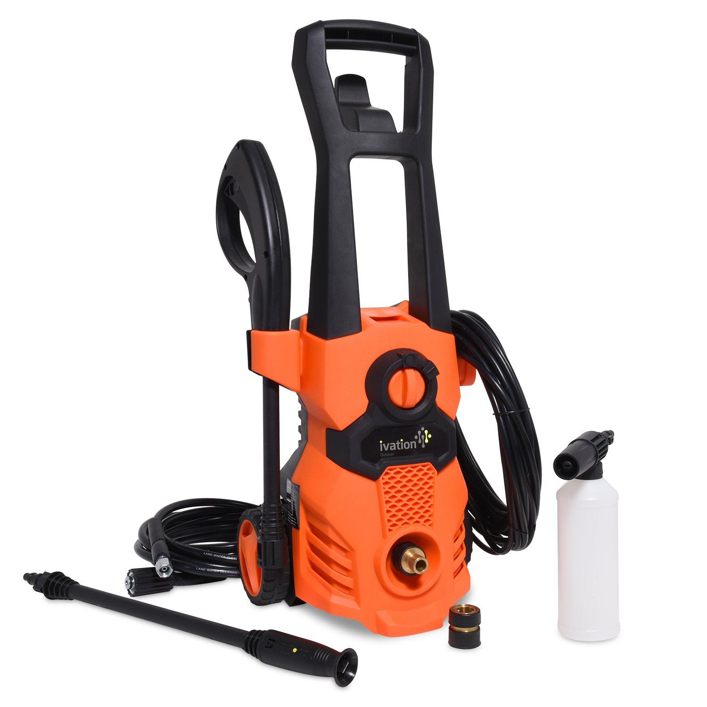 Ivation Electric Pressure Washer 1520 PSI 1.32 GPM, 13 Amp, High Power Hose Nozzle Gun & Soap Foam Cannon,Orange,Small Model