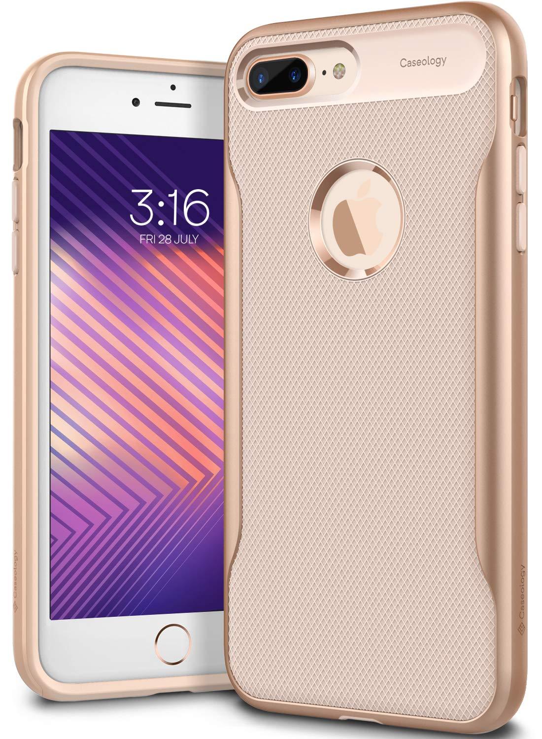 Caseology for iPhone 8 Plus case [Apex Series] - Slim Fit Shockproof Heavy Duty Hard Bumper Textured Geometric Design Case for iPhone 8 Plus Only - Beige Gold