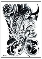 【y's partners】目立つ タトゥーシール デザイン重視 大きめサイズ リアル大判 高品質 長持ち 刺青シール ボディーシール (黒(鯉))