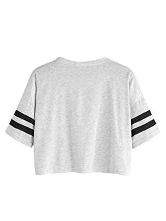 d2258db8e71a9 MAKEMECHIC Women's Short Sleeve Oversized Striped Summer Crop Tee T-Shirt  Top at Amazon Women's Clothing store: