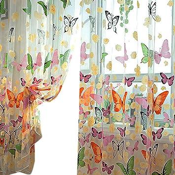 Curtains Ideas butterfly valance curtains : Amazon.com: PanDaDa Door Balcony Window Screen Curtain Tulle Panel ...