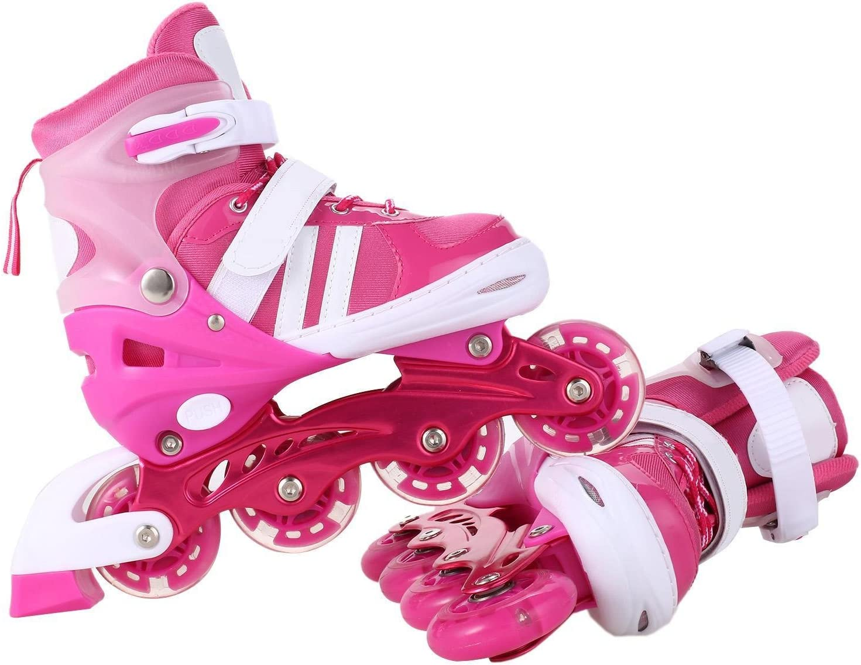 Mewalker Inline Skates Aluminum Breathable Mesh Inline Skates Adjustable Rollerblades for Unisex Kids and Adults US Stock