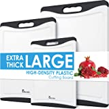 Extra Large Cutting Board, Plastic Cutting Board for Kitchen Dishwasher Safe Non Slip Chopping Board Set of 3 with Juice Groo
