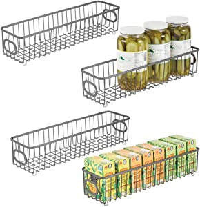 mDesign Metal Kitchen Pantry Food Storage Organizer Bin Basket - Modern Farmhouse Decor Wire Grid Design - Organization for Cabinets, Shelves, Countertops - X Long Container, 4 Pack - Gray