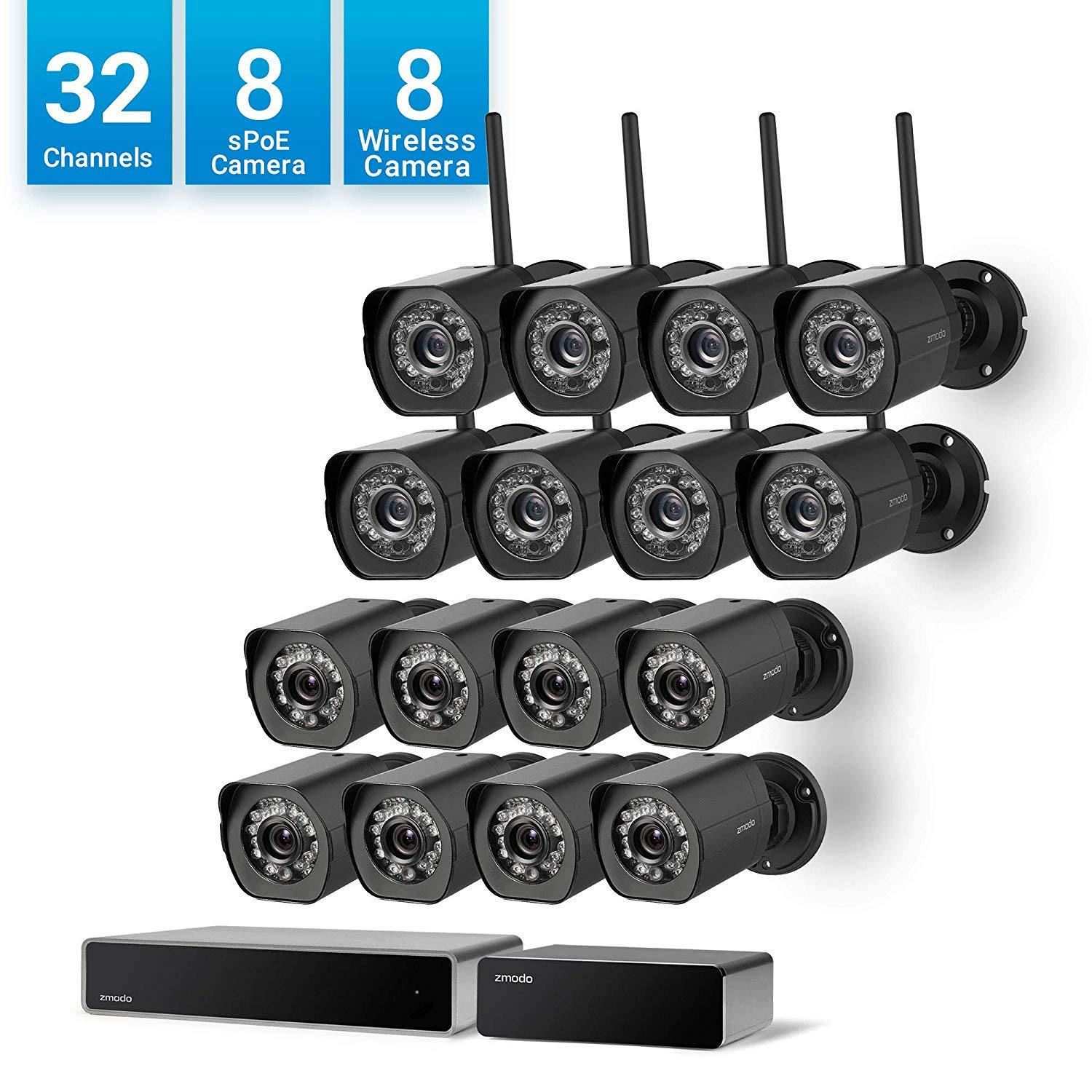 Zmodo 32 Channel 1080p HDMI NVR 8 Simplified PoE Camera 8 Wireless Camera Outdoor 720p HD Security System,24 7 Recording Remote Monitoring, w Repeater Flexible Installation
