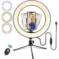 Ringlampa, 10 tum LED-ringljus stativ foto video LED-belysningskit, selfiellampa med Bluetooth-fjärrkontroll, för Tik…