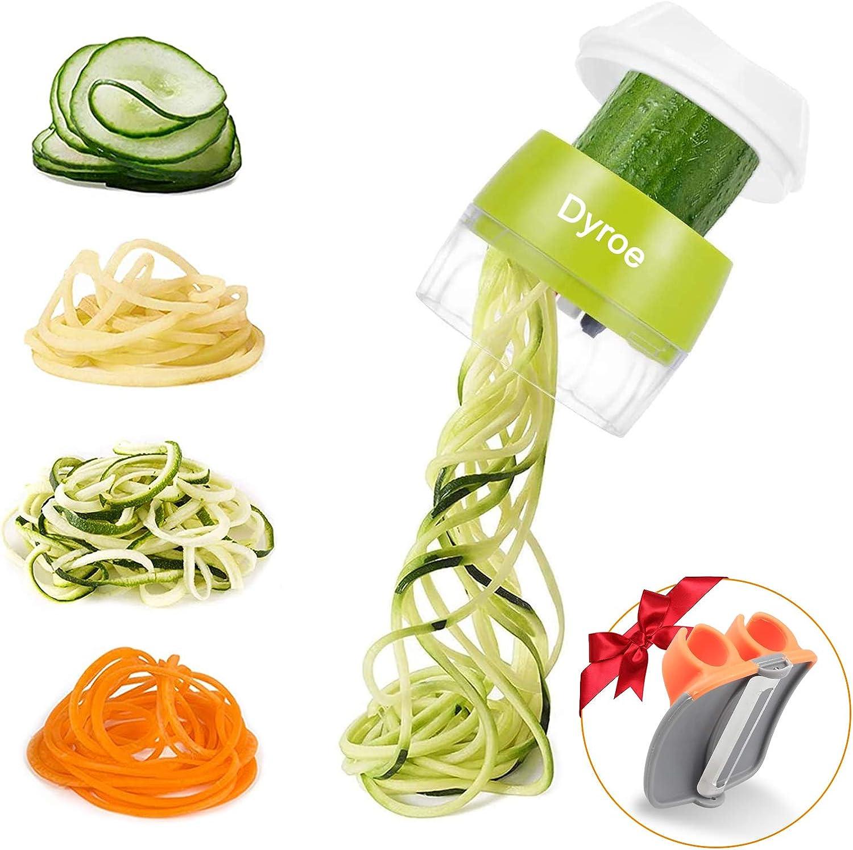 4 in1 Affetta Verdure Spaghetti Multifunzione affetta Verdure per zucchine Dyroe Spiralizzatore di Verdure,Tagliapasta per Verdure Cetriolo Zucca,Cipolla+ Pelaverdure Patate Carota