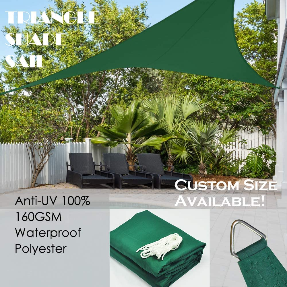 Alion Home 16 5 x 16 5 x 16 5 Triangle Waterproof Woven Sun Shade Sail in Vibrant Colors Forest Green