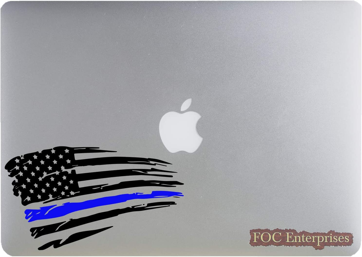 "Distressed American Flag Thin Blue Line US Flag for Support Police Law Enforcement Vinyl Die-Cut Sticker for MacBook/Laptop, Car/Truck, Window/Bumper - Size Approx. 5.5"" inches Longer Side"