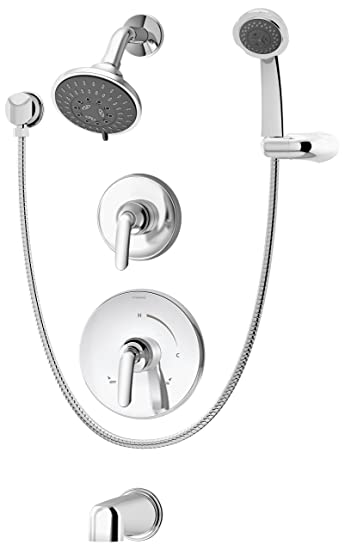 symmons elm tub shower and handshower system chrome