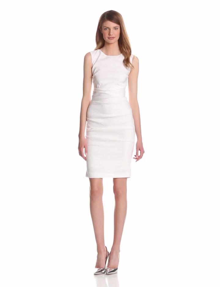 "Nicole Miller Women's ""lauren"" Stretch Linen Dress Dress, -white, 6"