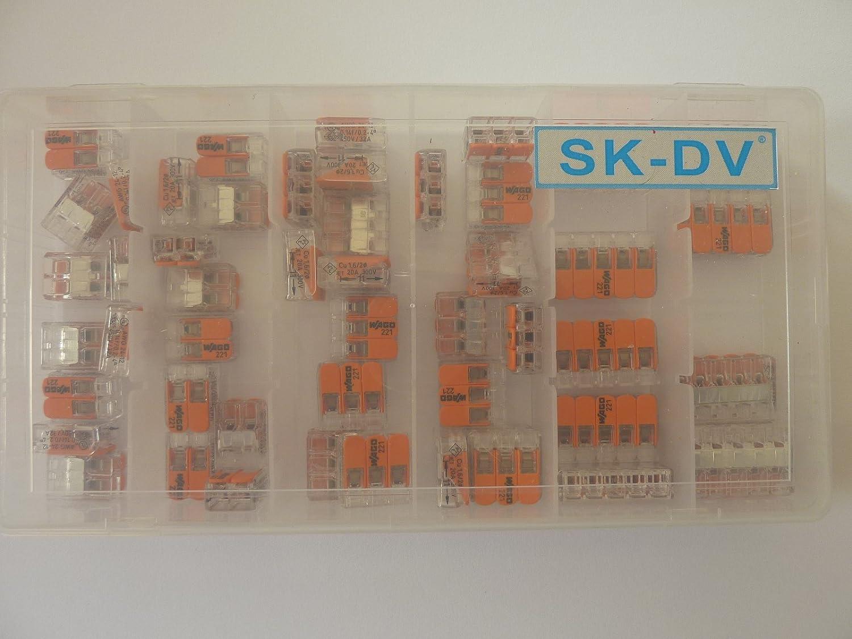 Wago Verbindungsklemme Sortiment 50 Stü ck Hebelklemmen gemischt Typ 221 - 412 , 413 , 415 in SK-DV  Kunstoffbox SK-W 221