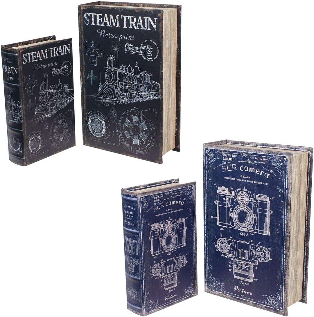 CAPRILO. 2 Sets de 2 Cajas Libro Decorativas de Madera Multicolores Tren y Cámara Fotos. Cajas Multiusos. Joyeros. Regalos Originales. Decoración Hogar. 27 x 18 x 7 cm.: Amazon.es: Hogar