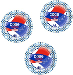 "Dixie Ultra Heavy Duty Disposable Appetizer and Dessert Paper Plates, Small Plate 6 7/8"" (44 ct) (Pack of 3)"