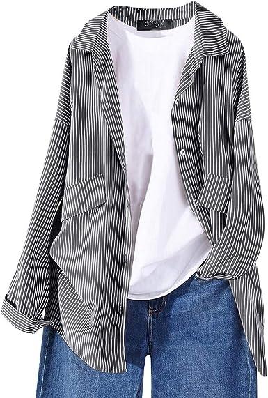 Camisa De Mujer, YGbuy Joker De Moda para Mujer, Manga Larga, Bolsillo a Rayas, Chaqueta Larga, Chaqueta Superior, Camisa Holgada De Gran Tamaño, Camiseta Estampada: Amazon.es: Ropa y accesorios