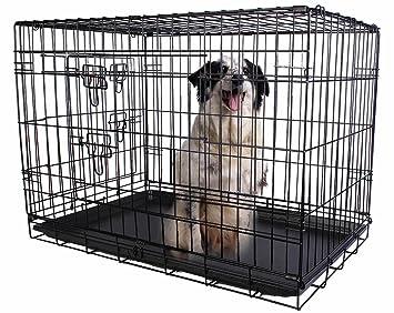 giantex 2 puertas alambre plegable mascota perro de Crate gato jaula maleta de Parque de caseta