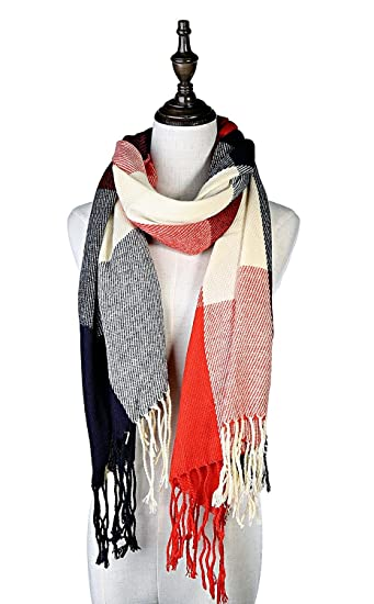 3478872340fac Lamamamas Plaid Scarf Winter Checkered Shawl Tartan Wrap with Tassel for  Women (Red and Blue