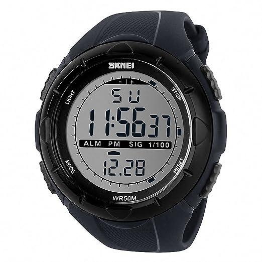 TTLIFE 1025 Reloj de Pulsera Multi Función Unisex Digital LED Relojes Electrónicos Deportivos Resistentes al agua (gris): Amazon.es: Deportes y aire libre