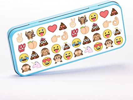 Emojis Pattern Poop Monkey Heart Smile Estuche portalápices de metal - azul: Amazon.es: Oficina y papelería