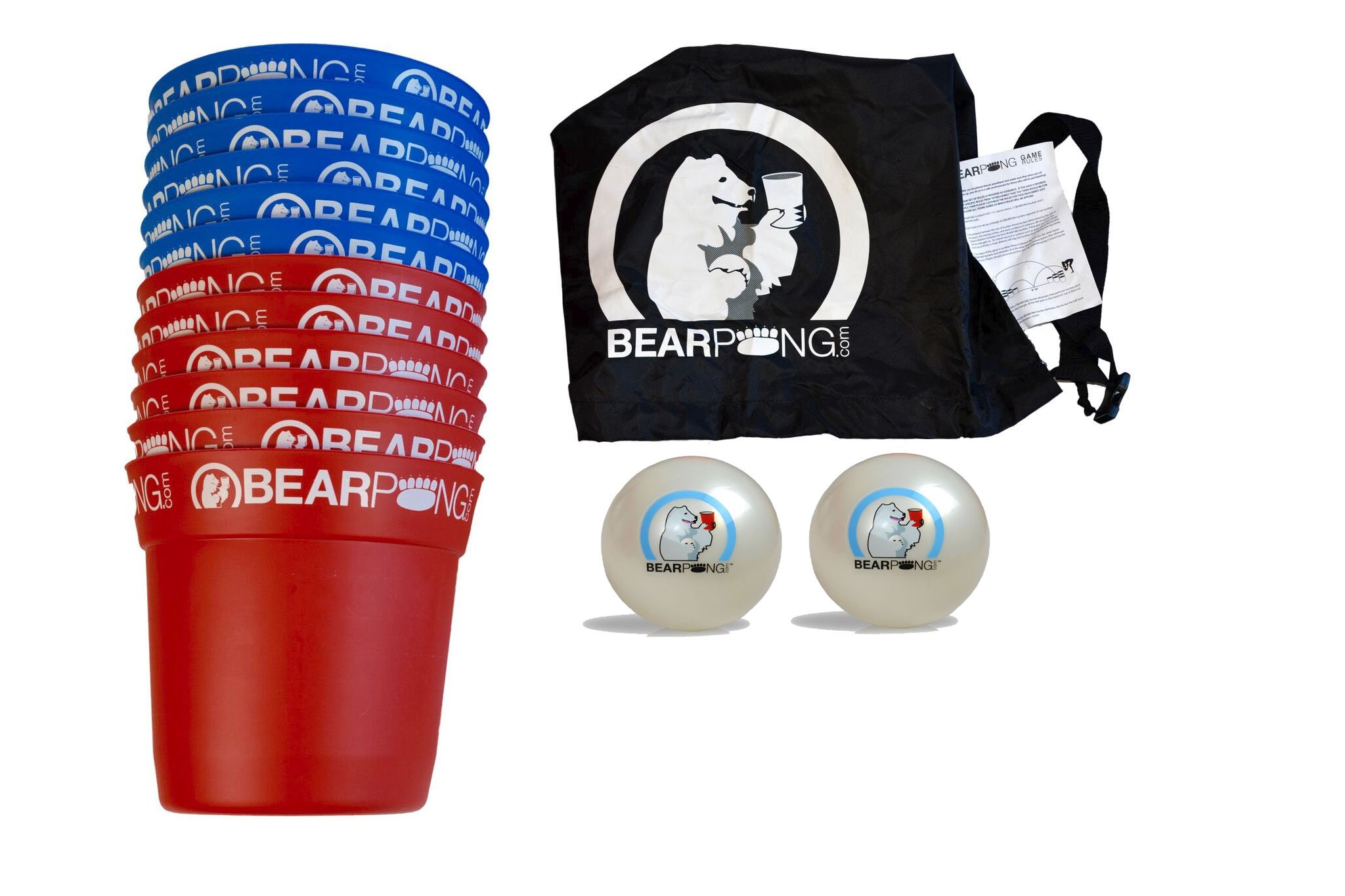 Bearpong Blue and Red Bearpong Game Set: 6 BEARPONG Red and 6 BEARPONG Blue Buckets, 3 BEARPONG Balls, 2 Beach Balls, 1 Ball Pump with Carrying Case, and instructions