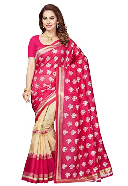 83400083989 ishin Silk Saree With Blouse Piece (Isswrya-SilkyTouchRed Red Free Size)