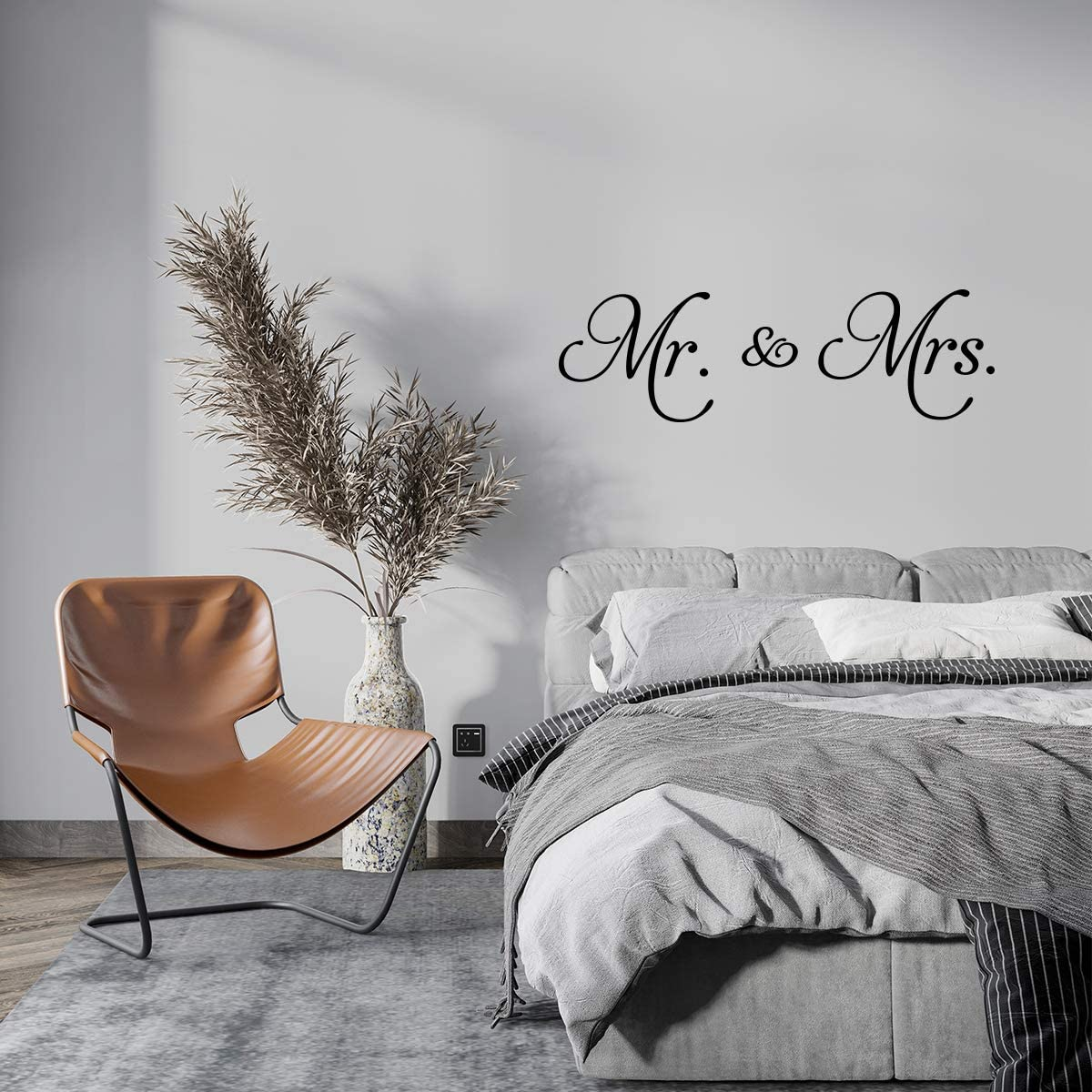 YOKIKI Mr. & Mrs.Decal Home Decor Quote Vinyl Wall Art Decal Wall Stickers Marriage Wedlock of Love Living Room Bedroom Decor Stickers