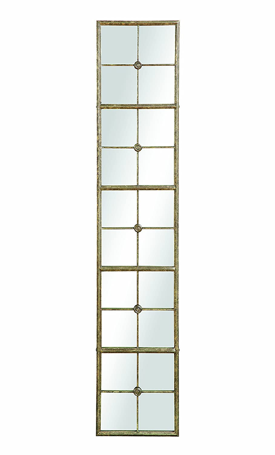 Creative Co-op DE7399 Divided Rectangle Mirror with Distressed Gold Frame