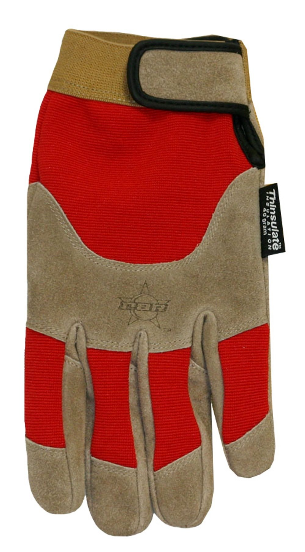 Professional Bull Rider (PBR) Suede Cowhide Leather Work Glove with Thinsulate Insulation, Medium, Brown/Red, PB200