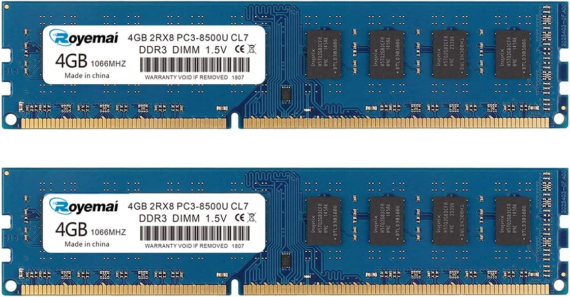 ROYEMAI 8GB Kit (2X4GB) DDR3 RAM, DDR3 1066 PC3-8500U 4GB DDR3 2Rx8 240-pin Dimm CL7 1.5V Desktop RAM Memory Module