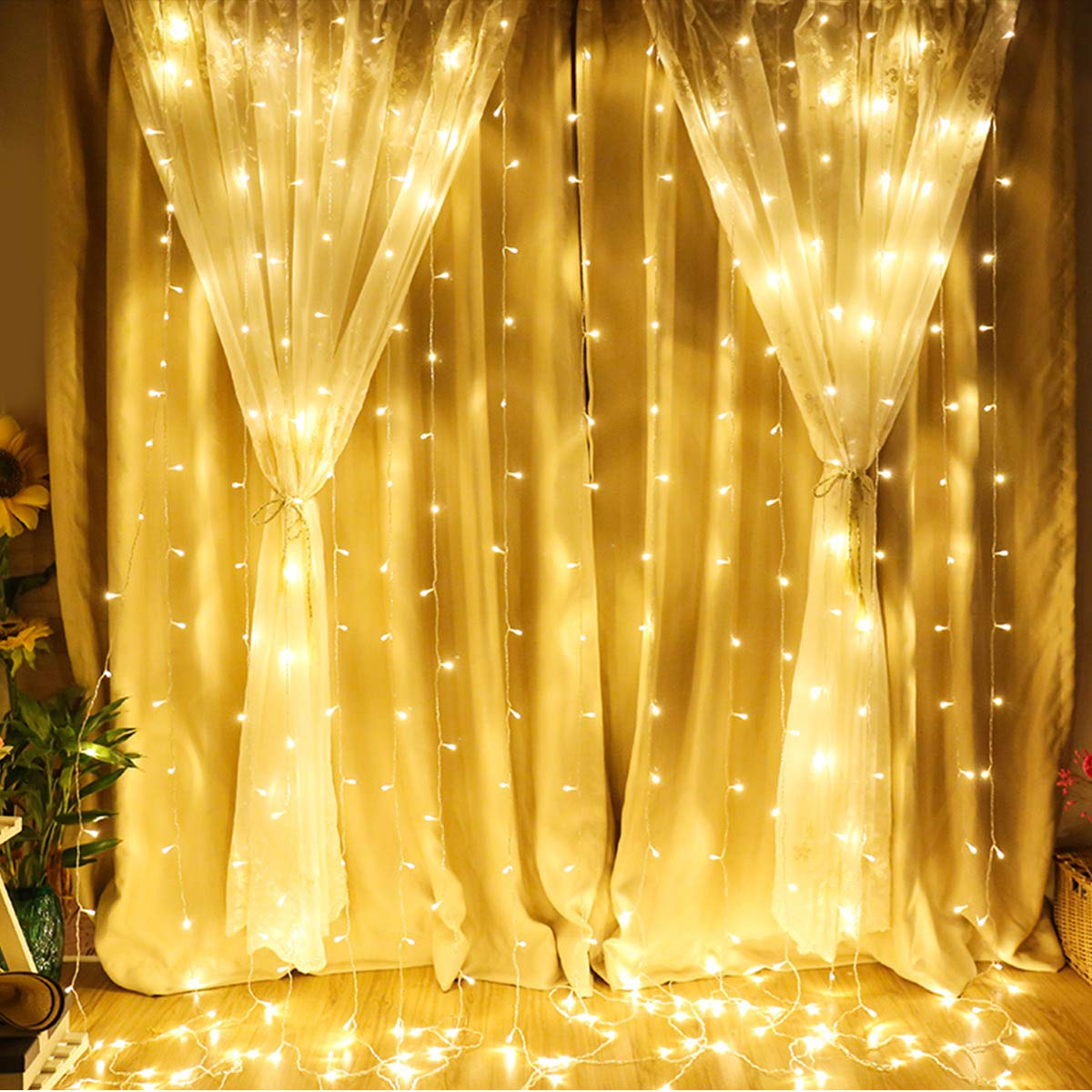 1d469e477 LE Cortina de Luces LED 3m x 3m 306 LED, Blanco Cálido, Resistente al Agua,  8 Modos de Luz, Decoración de casa, arbol de Navidad, etc