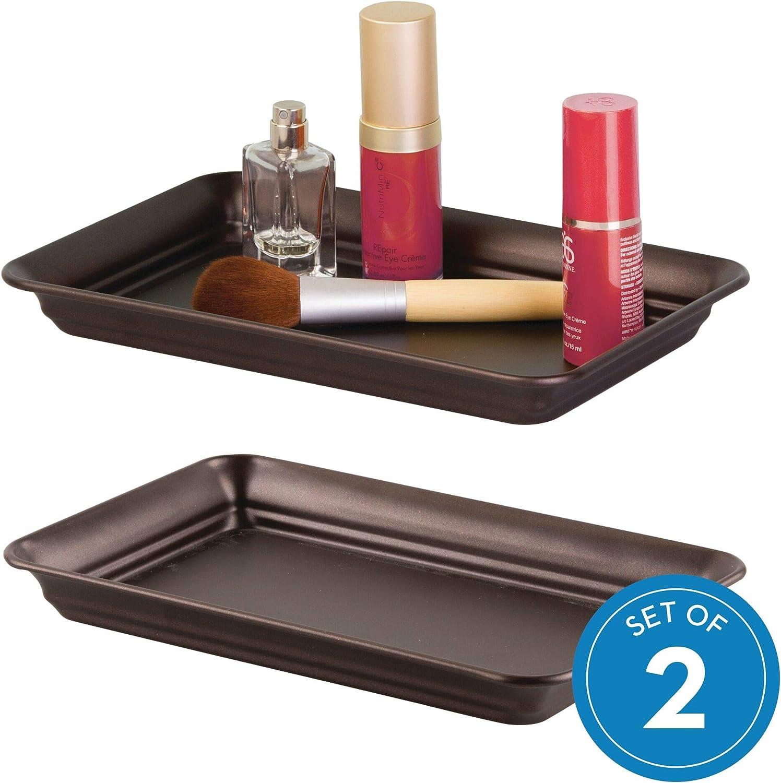 Amazon Com Idesign Countertop Guest Towel Tray Bathroom Vanity Organizer Set Of 2 Bronze 2 Count Home Kitchen