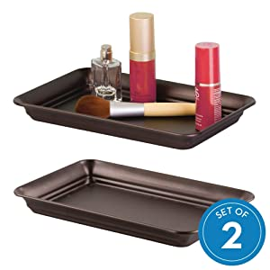iDesign Countertop Guest Towel Tray, Bathroom Vanity Organizer - Bronze, Pack of 2