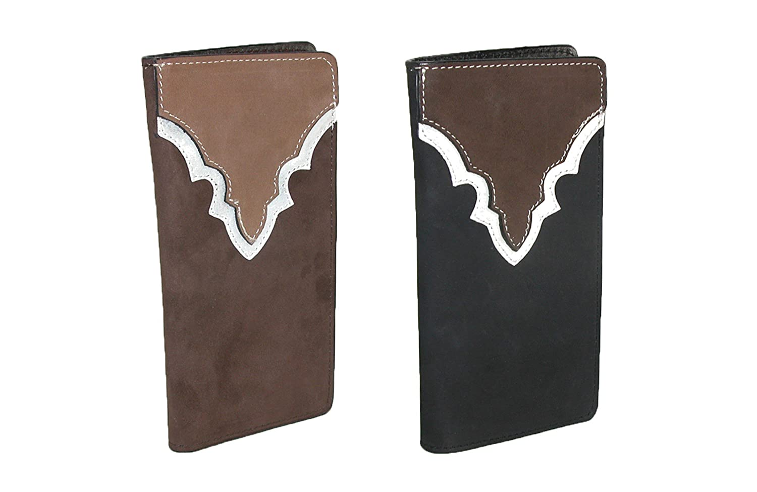 CTM/® Mens Heavy Duty Leather Western Rodeo Checkbook Cover Tan