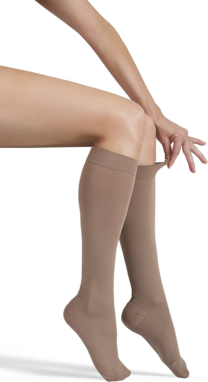 ITA-MED Microfiber Knee Highs Compression 25-35 mmHg : H-304 XX-Large Beige