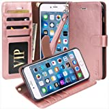 iPhone 7 Case, Moze iPhone 7 Wallet Case [4 Card Slots ] [Wrist Strap] [Stand Feature] PU Leather Flip Wallet Case Cover for iPhone 7 (4.7) - Rose Gold