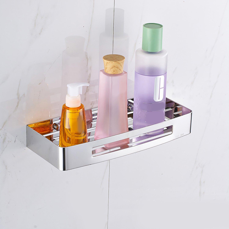 SHACOS Bathroom Wall Mount Storage Shelf,Stainless Steel Corner Storage Basket Rack 1 Tier for Soap, Shampoo, Lotion, Accessories(12''×5''×2'', Matte Polished)