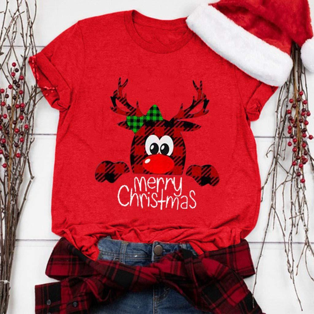 Feliz Camiseta de Navidad Camisetas Casual para Mujer Camisas Tops de Navidad Camiseta Navidad de Moda para Mujer SUNNSEAN Camiseta de A/ño Nuevo Camiseta Gr/áfica Linda Dibujos