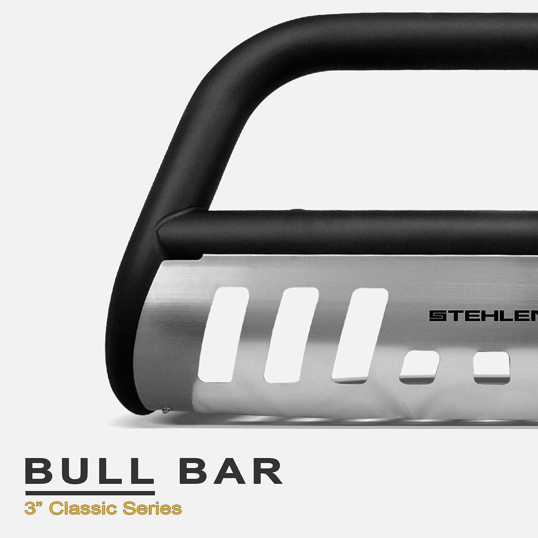 Stehlen 714937181748 3 Classic Series Bull Bar Matte Black//Brush Aluminum Skid Plate For 2001-2004 Nissan Frontier 2002-2004 Xterra