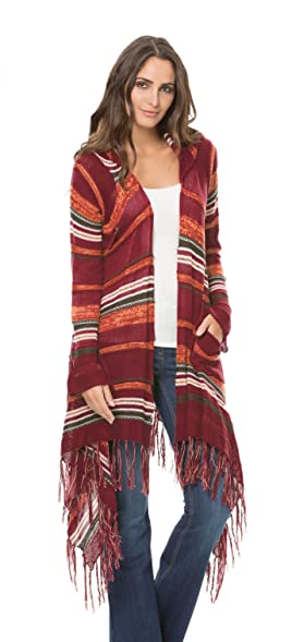 a239cb5535 Elan Long Drape Sweater with Pin and Fringe (Small, Burgundy) at ...