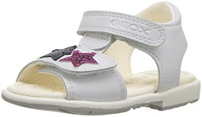 410b8a3eb6 Geox Girls' VERRED 16 Sandal, White/Multicolor, 20 M EU Toddler (