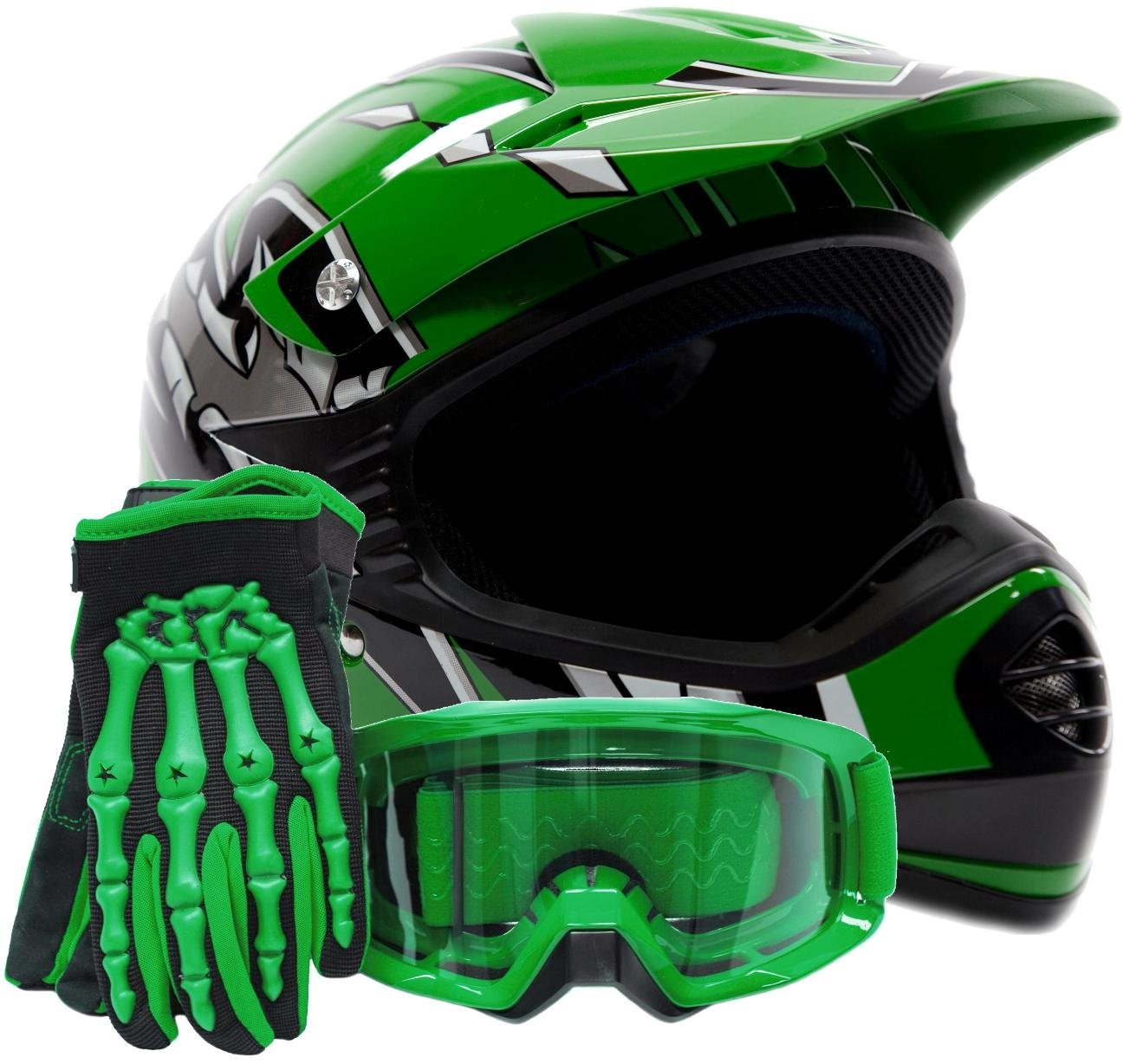 Youth Kids Offroad Gear Combo Helmet Gloves Goggles