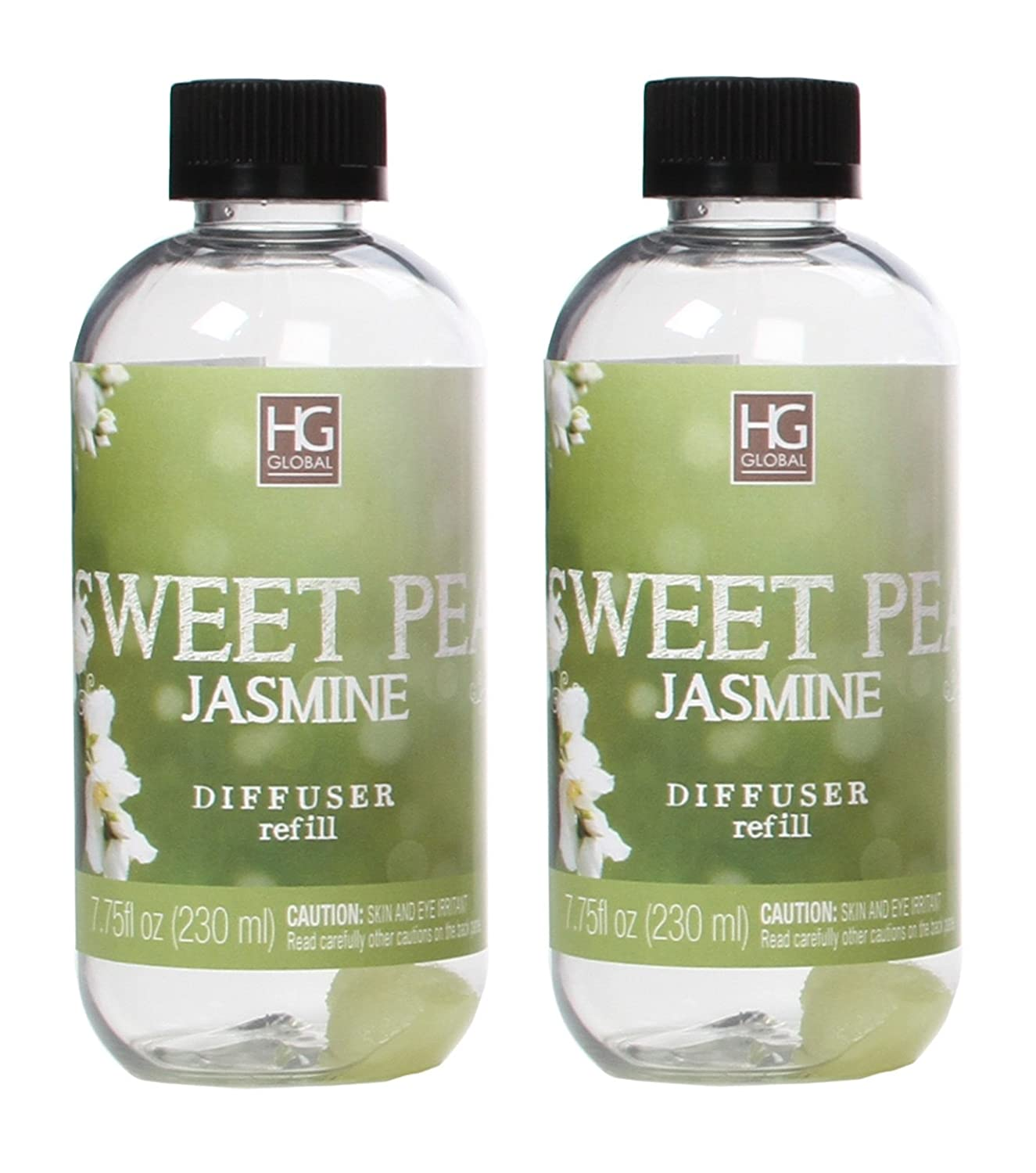 Hosley's Set of 2 Premium Sweet Pea Jasmine Reed Diffuser Refills Oil, 230 ml (7.75 fl oz) Made in USA.. BULK BUY. Ideal GIFT for weddings, spa, Reiki, Meditation settings W1 HG Global AMZ-BS52851WD-1-EA