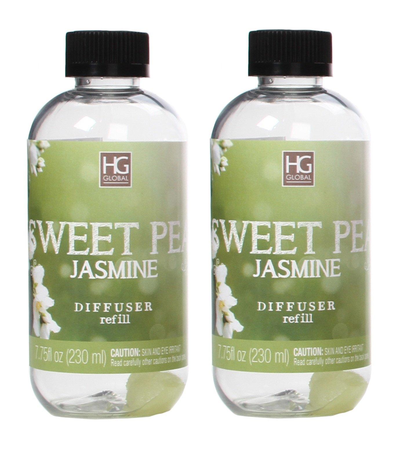 Hosley Set of 2 Premium Sweet Pea Jasmine Reed Diffuser Refills Oil, 230 ml (7.75 fl oz) Made in USA. BULK BUY. Ideal GIFT for weddings, spa, Reiki, Meditation settings W1 by Hosley