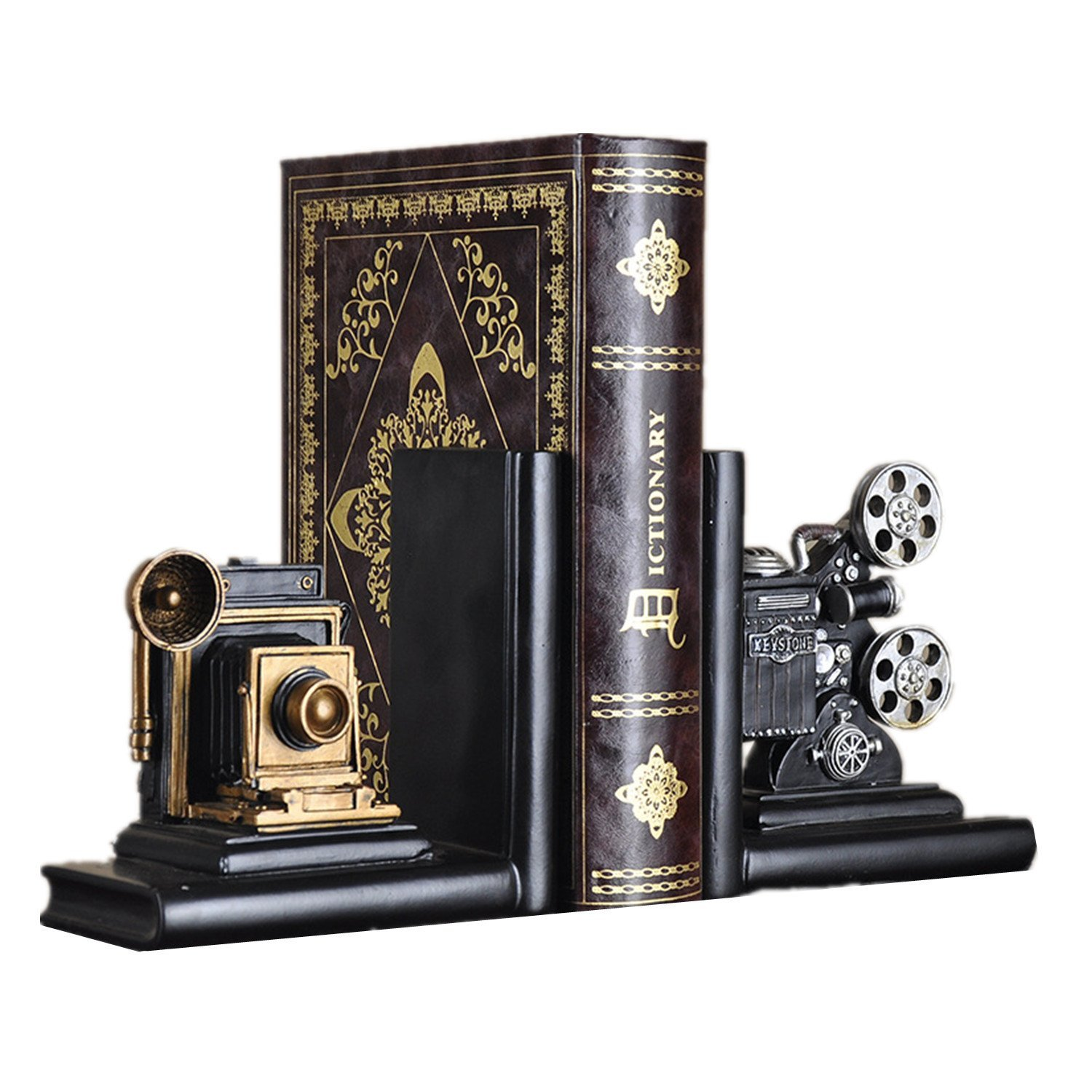 HEYFAIR Retro Camera Bookends Racks Book Ends Sets Bookshelf Organizers(1 pair) amf16061303