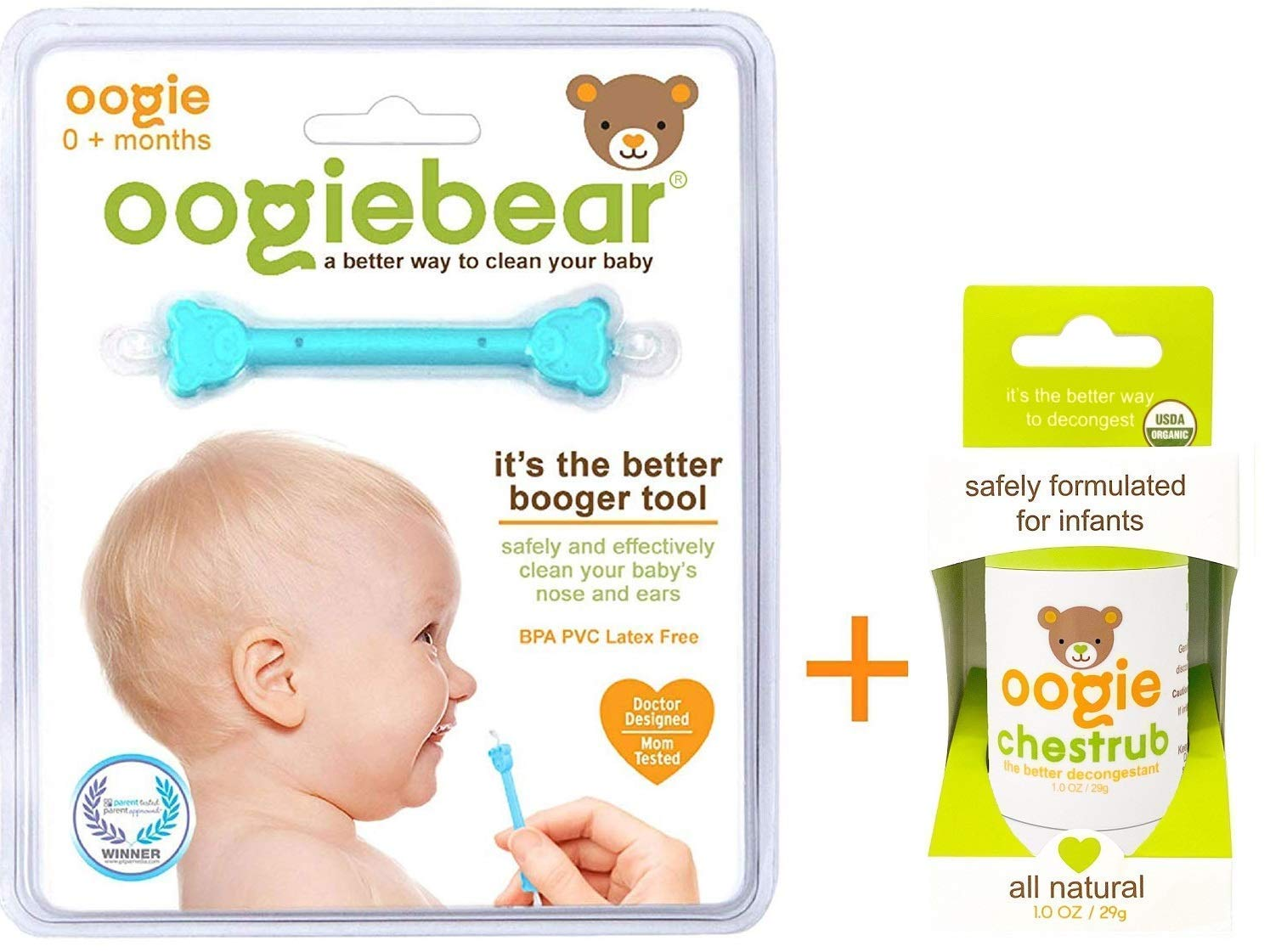 Snot and Ear Cleaner Tool Oogie Bundle 1oz chestrub Ointment for Easing Airways and Nasal Congestion; USDA Certified and oogiebear The Safe Baby Newborn Nasal Booger