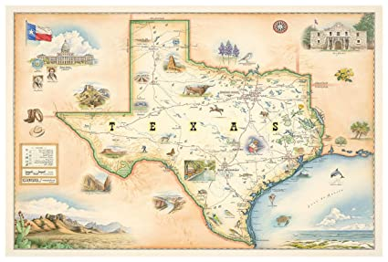 Map Of Northwest Texas.Amazon Com Northwest Art Mall Texas Hand Drawn Antique Style Map