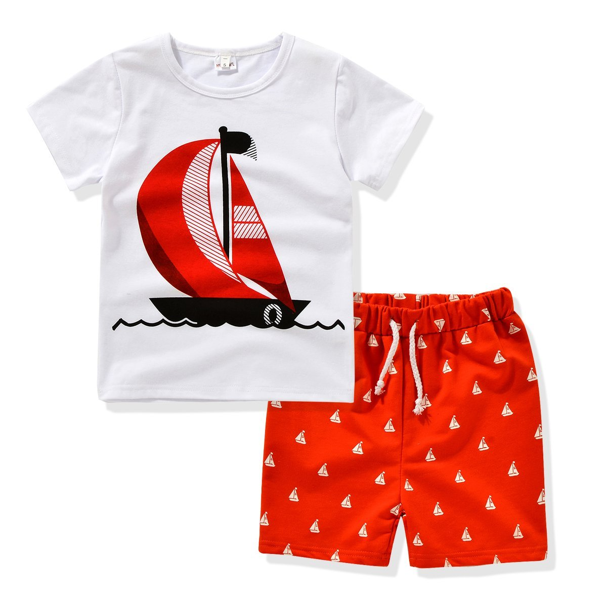 AJia Kids 2 Piece Short Sleeve Shirt and Shorts for 1 to 5 Years Olds Little Boy (2t, White/Red)